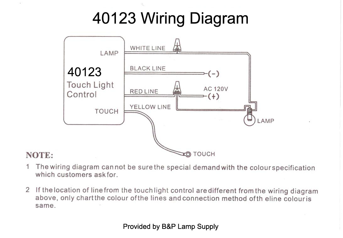 Wiring Diagram For Lamp : Lo med hi off touch lamp control switch b p