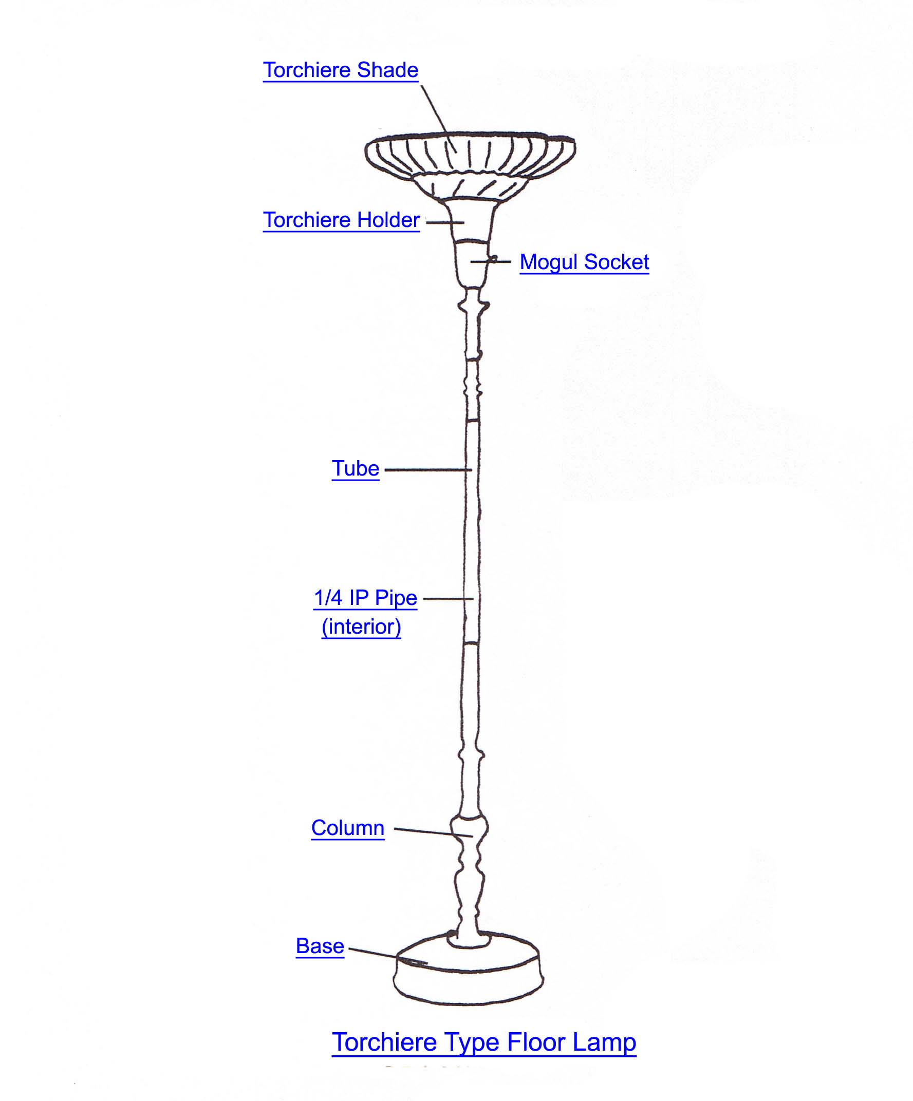 Torchiere lamp part index aloadofball