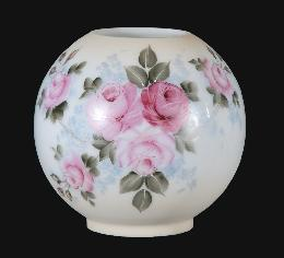 "8"" Hand Painted Opal Ball Shade, Garden Bouquet Scene"
