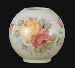 "8"" Hand Painted Opal Ball Shade, Victorian Roses Scene"