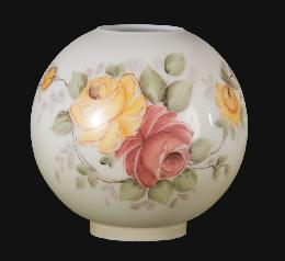 "9"" Hand Painted Opal Ball Shade, Victorian Roses Scene"