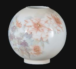 "9"" Opal Glass Ball Shade, Peonies Scene"