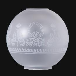 "10"" Satin Etched Ball Shade, Bows and Wreaths Decoration"