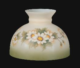 "10"" Opal Glass Student Shade, English Daisy Scene"