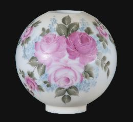 "10"" Hand Painted Opal Glass Ball Lamp Shade, Garden Bouquet Scene"