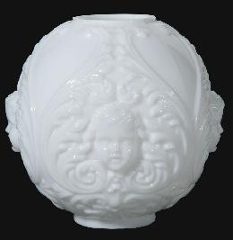 "10"" USA-made Opal Glass Cherub Lamp Shade"