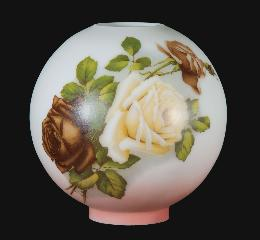 "10"" Hand Painted Opal Glass Ball Lamp Shade, English Roses Scene"