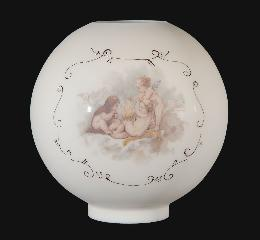 "10"" Hand Painted Opal Glass Ball Lamp Shade, Cherubs Scene"