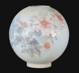 "10"" Hand Painted Opal Glass Ball Lamp Shade, Peonies Scene"