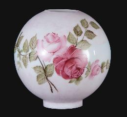 "10"" Hand Painted Opal Glass Ball Lamp Shade, Queen Elizabeth Roses"