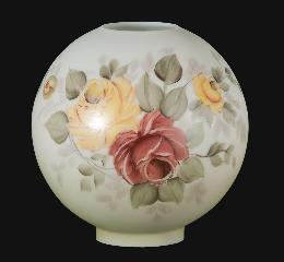 "10"" Hand Painted Opal Glass Ball Lamp Shade, Victorian Roses Scene"