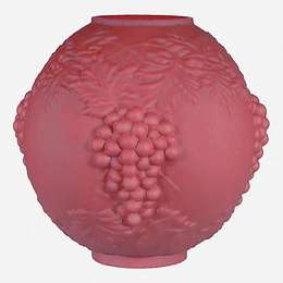 "10"" Satin Ruby Lamp Shade, Embossed Grapes"