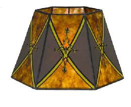 Decorated Antique Amber Hexagon Style Mica Lampshade