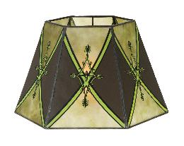 Decorated Craftsman Green Hexagon Style Mica Lampshade