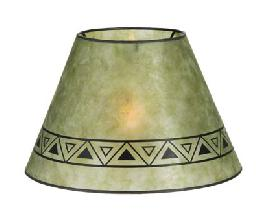 Green Color Empire Shaped Mica Lamp Shades with Print