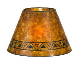 Amber Color Empire Shaped Mica Lamp Shades with Print