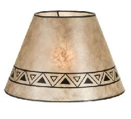 Parchment Color Empire Shaped Mica Lamp Shades with Print