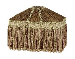 Antique Gold and Brass Bridge UNO Victorian Pleated Fringed Lamp Shades