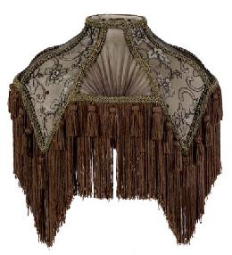Mocha Brown Fringe Victorian Table Lamp Shades