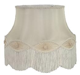 Ivory Floor Lamp Gallery Bell with Fringe Trim