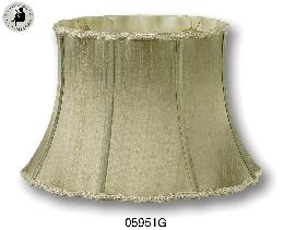Antique Gold Color, Out Scallop Bell Lamp Shades w/Old English Braid, 100% Pure Silk