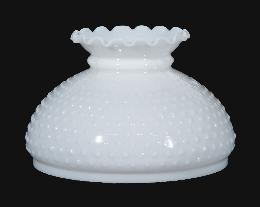 "10"" Opal Glass Hobnail Shade, Crimped Top"