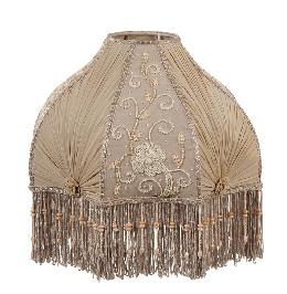 Victorian Antique Buff Pleated Chiffon and Embroidered Panels Lamp Shade