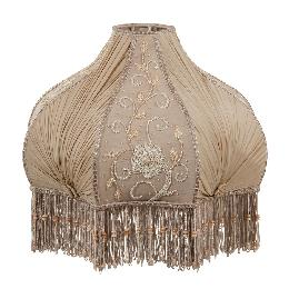 Victorian Antique Buff Pleated Chiffon and Embroidered Panels Lamp Shade - Large