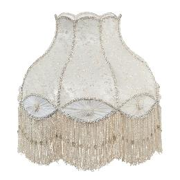 Victorian Style Ivory Color Bell Shaped Lace and Pleated Panel Lamp Shade