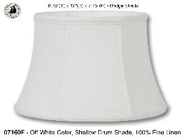 Off White Color Shallow Drum Floor Lamp Shades, 100% Fine Linen