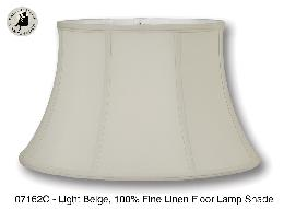 Light Beige Color Shallow Drum Floor Lamp Shade, 100% Fine Linen