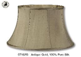 Antique Gold Color Shallow Drum Floor Lamp Shade, 100% Pure Silk