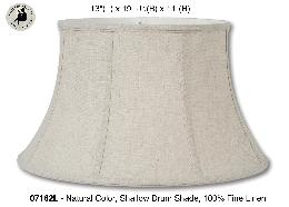 Natural Color Shallow Drum Floor Lamp Shade, 100% Fine Linen