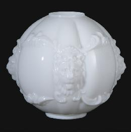 "11"" Opal Glass Embossed Lions Head Shade"