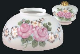 "14"" Hand Painted Bridal Roses Dome Shade and Font"
