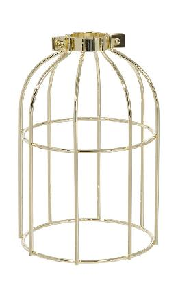 "Clamp-On Style Wire Light Bulb Cage, 7-3/8"" ht, Brass Plated Finish"