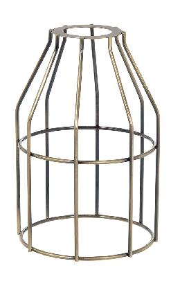 "Slip-On Washer Style, Wire Light Bulb Cage, 7-3/8"" ht, Antique Brass Finish"