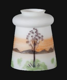 Early Style Hand Decorated Fixture Shade, Winter Scene