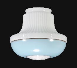 "9"" Opal Glass Deco Pendant Shade, Turquoise Band"