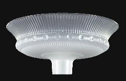 "15 1/2"" Etched Rib And Clear Top Torchiere"