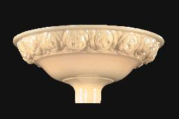 "16"" Nu-gold Embossed Torchiere, Roses Design"