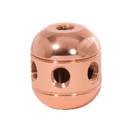 "1-5/8"" Tall Polished Copper Turned Brass 2-Piece Cluster Body, Choice of Side Holes"