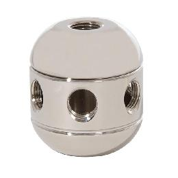 "1-5/8"" Tall, Polished Nickel Finish, Brass Cluster Body, 2-Piece, All Holes 1/8F"