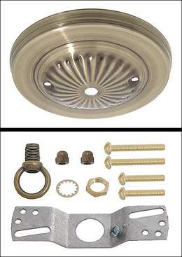 "Antique Brass Finish Steel Canopy Kit, 5 "" dia."