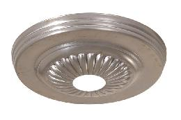 5-1/4 inch Diameter Steel Lighting Canopy w/Rosette design, 1-1/16 inch diameter center hole. Unfinished Steel