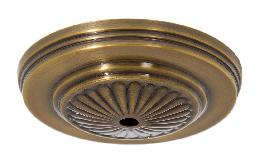 5-1/4 inch Diameter Antique Brass Finish Brass Ceiling Canopy w/Embossed Design