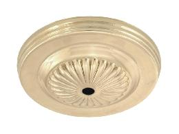 5-1/4 inch Diameter Brass Lighting Canopy w/Embossed design, 7/16 inch diameter center hole. Unfinished Brass