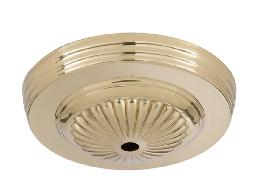 5-1/4 inch Diameter Brass Ceiling Canopy w/Embossed design, 7/16 inch diameter center hole. Polished and Lacquered Finish