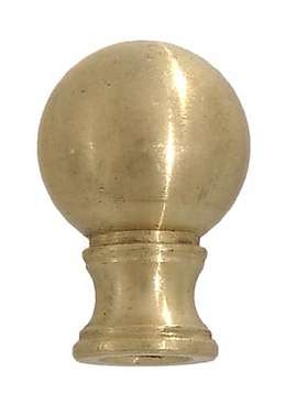 1-1/2 Inch Brass Ball Finial, Choice of Tap and Finish