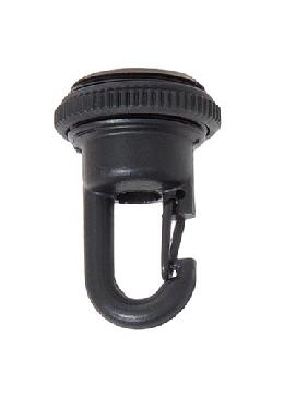 "1-3/4"" Ht., Cast Brass Screw Collar Loop with Fast Snap Hook, Tap 1/4F, Satin Black Finish"
